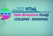 HTML - Tabloda Satır ve Sütun Birleştirme Örneği (COLSPAN - ROWSPAN)